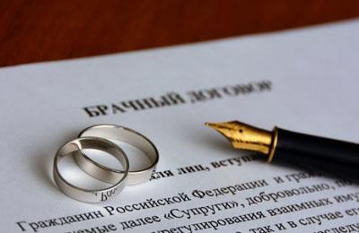 Брачный договор: имущество, образец заполнения